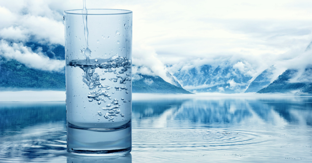 glass of ionized water